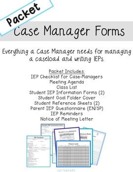 iep case manager forms full packet  run teach bike tpt