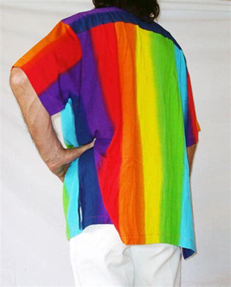 rainbow coloured mens loud hawiian shirt stag night