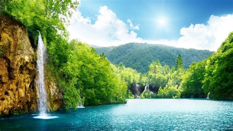 Scenery Picture by Scenery Image Clouds Green Image Tree Waterfall
