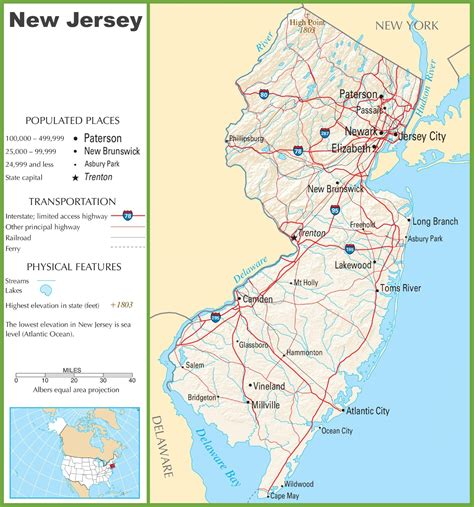 jersey usa map  travel information