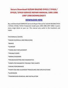 Suzuki Baleno Sy413 Sy416 Sy418 Sy419 Service Repair Manual Wiring Diagram Manual