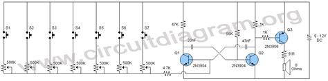Electronic Organ Using Transistors Circuit Diagram