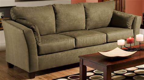 olive microfiber modern casual sofa loveseat set