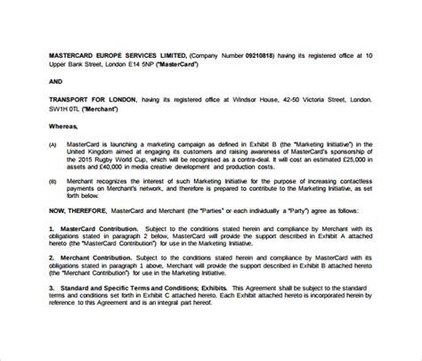 sample marketing agreement  documents   word