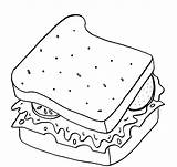 Sandwich Coloring Colouring Clipart Picnic Popular Breakfast Webstockreview sketch template