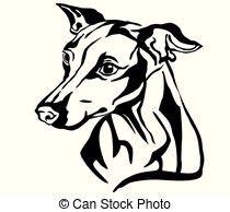 foto de Vector sketch black cane corso smiling italian breed of