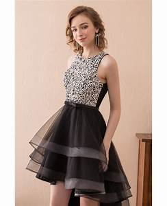 2018 High Low Black Prom Dress With Sparkly Bodice For ...