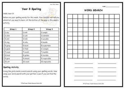 year 3 weekly spelling 1