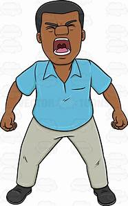 A Black Man Screaming Out Loud Cartoon Clipart - Vector Toons