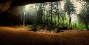 Waterfalls, Usa, Crag, Trees, Hocking, Hills, State, Park, Ohio, Nature, Wallpapers, Hd, Desktop