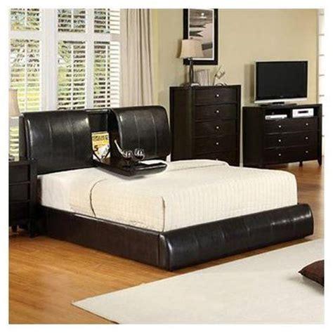king size webster espresso leather platform bed  built