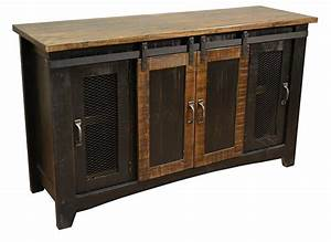 burleson home furnishings anton black finish 60quot rustic With barn door hardware for tv stand