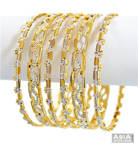 22k fancy rhodium bangles set 6 pc ajba57198 22k fancy bangles set designed