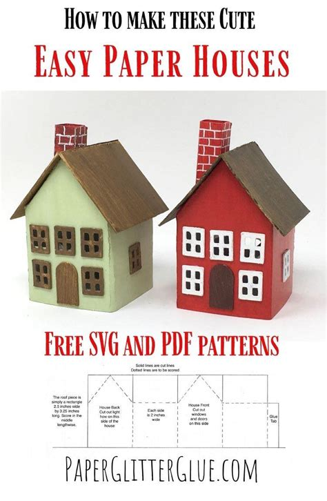 easy paper houses  printable pattern paper glitter