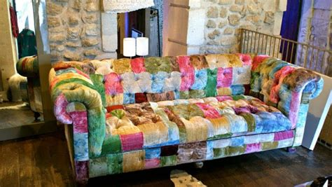 canape patchwork photos canapé chesterfield tissu patchwork