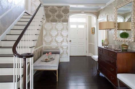 Vestibule To Foyer With Silver And Taupe Damask Wallpaper