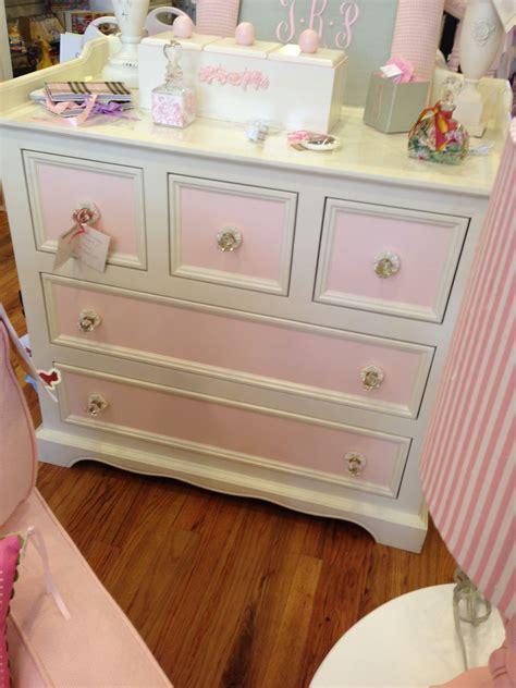 pink  white girls dresser  crystal knobs kids