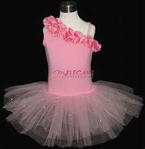 Pink Flower Girls Fairy Costume Dress Ballet Leotard Tutu ...