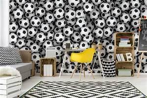 Papier Peint Ado : papier peint original chambre ado ballons de foot izoa ~ Dallasstarsshop.com Idées de Décoration