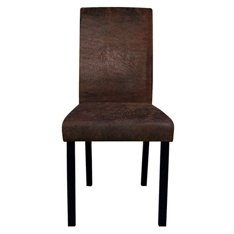 chaise salon design chaise de salon marron vieilli lot de 2 koya design