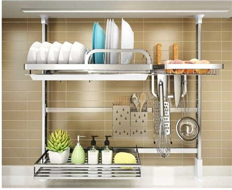 wall mounted stainless steel dish drying rack kitchenware compact dish rack