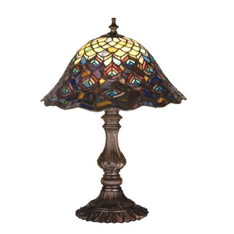 Meyda 67885 Tiffany Peacock Feathers Table Lamp