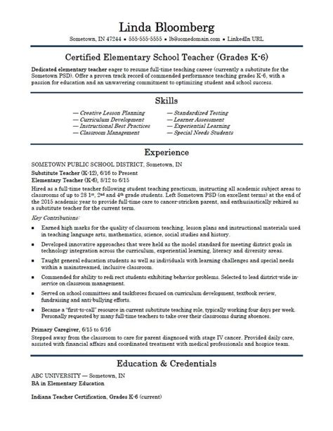 resume sles for schol teachers elementary school resume template