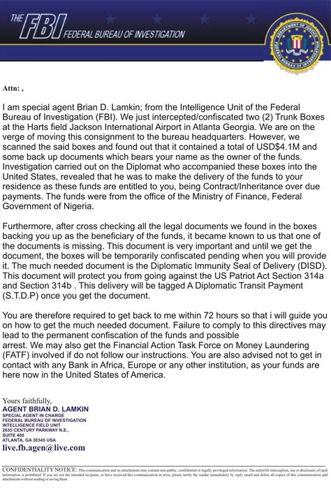 National security matters such as terrorism and espionage; FBI Email Scam - FraudsWatch.com