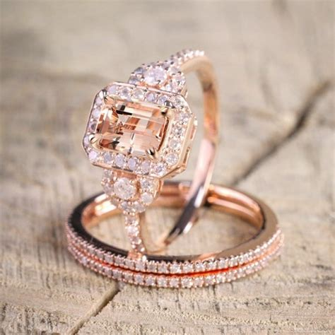 aliexpress com buy luxury 3 pcs ring sets for women rose gold filled chagne crystal zircon