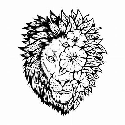 Lion Head Floral Animal Vector Tattoo Freepik