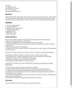 Insurance Benefits Administrator Resume by Professional Automotive Warranty Administrator Templates To Showcase Your Talent Myperfectresume