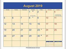 August 2019 Calendar With Holidays 2018 calendar with