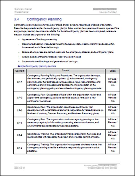 Contingency Operations Plan Template by Security Plan Ms Word Template Instant Download