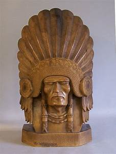 Native American Indian Chief carved wood sculpture #