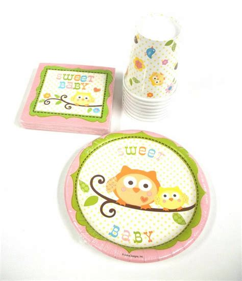 owl baby shower plates and napkins happi tree owl baby shower set supplies 8
