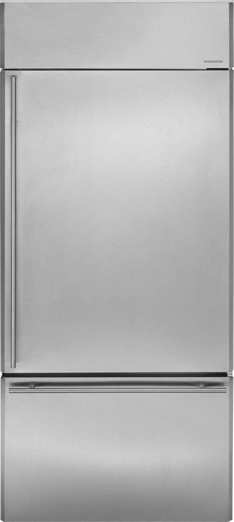 zicsnhrh monogram  built  bottom freezer refrigerator stainless steel
