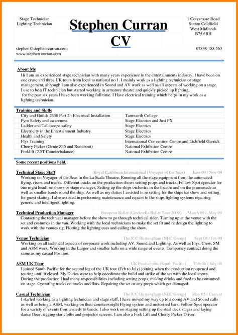 Sle Cv Format by 6 Curriculum Vitae In Ms Word Theorynpractice