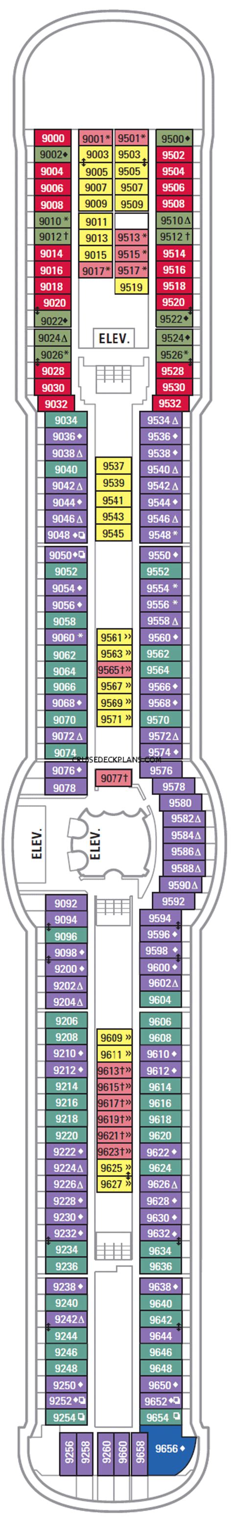 Brilliance Of The Seas Deck Plan 9 by Brilliance Of The Seas Family Oceanview Category