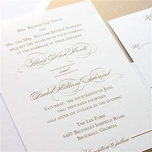 gold wedding invitation elegant script calligraphy With wedding invitations online shipping