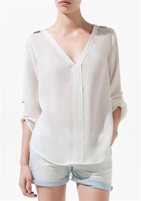 v neck blouses white rivet v neck sleeve chiffon blouse blouses tops