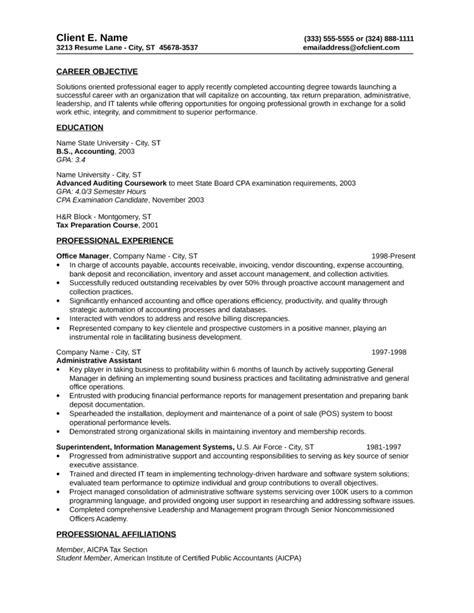 Tax Accounting Resume by Basic Tax Accountant Resume Template