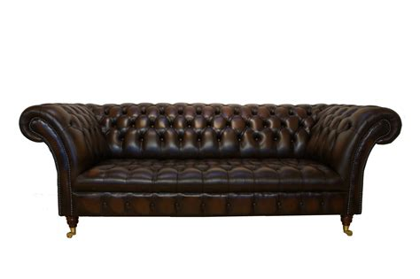 three seater brown leather chesterfield sectional sofa