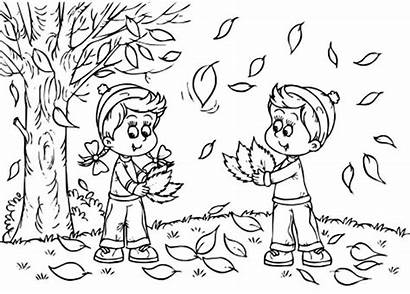Coloring Fall Pages Leaves Preschool