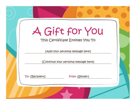 birthday gift certificate template  printables