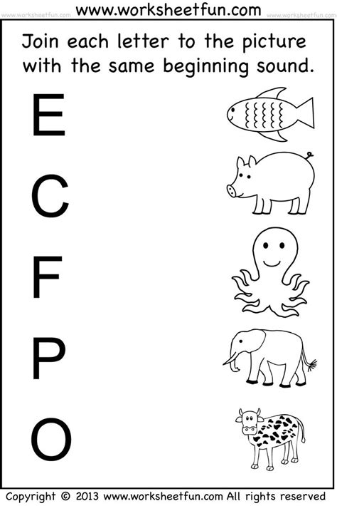 beginning sound 7 worksheets teaching ideas