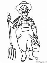 Farmer Coloring Pages Drawing Printable Farm Market Dell Farmers Line Sketch Template Profession Professions Children Animals sketch template