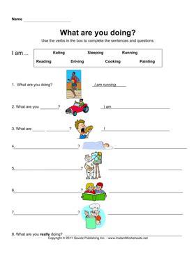 esl present progressive  worksheets  kids kids math