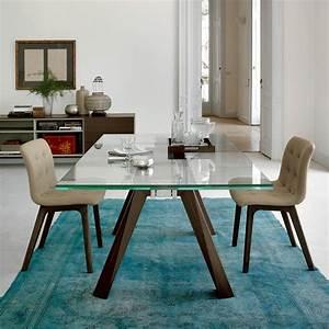 Table Plateau Verre Pied Bois : aron ext table design de bontempi casa 200 x 106 cm extensible avec structure en bois et ~ Melissatoandfro.com Idées de Décoration