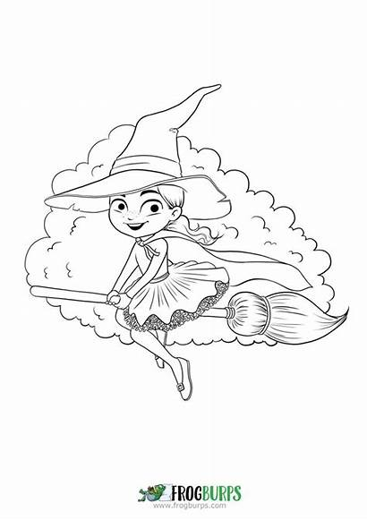 Coloring Witch Flying Pages Halloween Friendly Youloveit