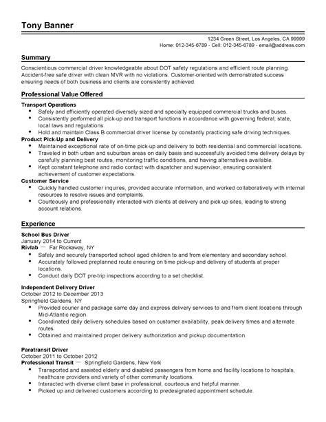 useful school driver resume summary about truck driver